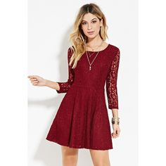 Forever 21 Women's  Lace Fit & Flare Dress ($18) ❤ liked on Polyvore featuring dresses, short sleeve dress, red dress, short lace dress, lace dress and floral dress