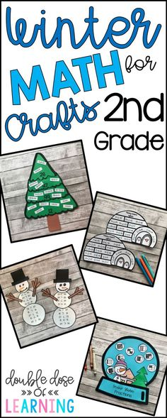 Winter math crafts for second grade will reinforce math skills and look great on bulletin board or hallway displays!