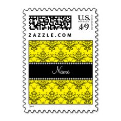 Personalized name Yellow damask Postage. Make your own business card with this great design. All you need is to add your info to this template. Click the image to try it out!