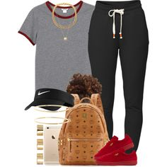 Red & Gray ❕❗️ by livelifefreelyy on Polyvore featuring polyvore, fashion, style, Monki, Lija, Puma, MCM, ASOS, Brooks Brothers, Joolz by Martha Calvo and NIKE