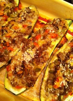 Taco stuffed zucchini, Stuffed zucchini and Tacos on Pinterest