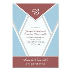 Marsala Dusty Blue Light Gray Post Wedding Card