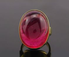 Stunning Vintage 18K Gold Pink Tourmaline Ring Superb Heavy Quality Cabochon Solitaire Statement Size O 1/2 (UK) or 7.5 (US) 55.75 (EU) j857 by fkantique on Etsy