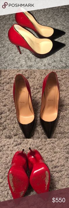 Christian Louboutin heels Lightly worn AUTHENTIC Louboutin Pigalle Follies 120 red and black patent leather Christian Louboutin Shoes Heels