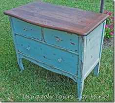 Vintage oak chest painted in custom color ASCP, top refinished in Dark Walnut stain, original glass pulls