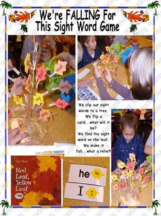 Leaf SIGHT WORD Game Sight Word Games, Sight Words, Future Classroom, Classroom Ideas, What A Relief, Scarecrows, School Daze, Pilgrims, Word Play