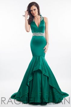 Matte satin mermaid with plunging neckline. Order today by calling Everything for Pageants at 1-815-782-8877 and ask for our current promotions.
