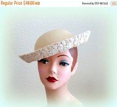 SPRING SALE 50s Classy Vanilla Brim Hat  by Cherrycrushretro