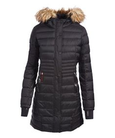 Look what I found on #zulily! Black Faux Fur-Accent Hooded Long Puffer Coat - Plus Too by Canada Weather Gear #zulilyfinds