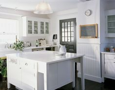 blue and white kitchens farmhouse | ... | Kitchen | Pinterest | East Hampton, White Kitchens and Projects