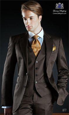 Traje de novio marrón 877 ONGala Wedding suit Traje Sin Corbata ba4d62ec374