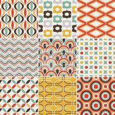 """Papier peint """", geometriques, vecteur - seamless retro"""" ✓ Pose facile ✓ 365 jours pour le renvoi ✓ Regardez d'autres motifs de cette collection !"""