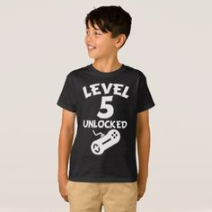 #Level 5 Unlocked Video Games 5th Birthday T-Shirt - #birthday #gift #present #giftidea #idea #gifts