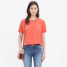 Sporty ribbed trim. A just-below-the-belly-button length. Ready to pair with jeans or skirts. <ul><li>True to size.</li><li>Cotton.</li><li>Machine wash.</li><li>Import.</li></ul>