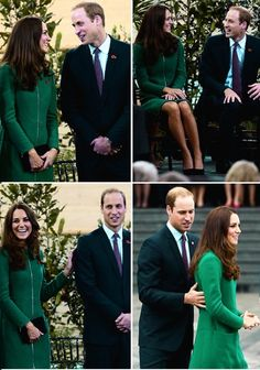 Prince William and Catherine, Duchess of Cambridge, aka Kate Middleton, they officially opened the National Cycling Centre of excellence and Avantidrome, in Hamilton, New Zealand. She is wearing the 'Allie' coat by Erdem, Budding Heart Silk Tea Dress from Suzannah, Episode Angel heels and carrying her Mulberry clutch. 4/12/14
