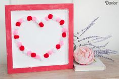 Create an Easy Valentine Kids Craft with Pom Poms - A perfect wall art project!