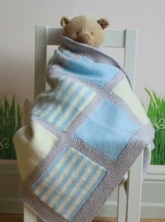 Knitting pattern for 3 Color Baby Blanket and baby blanket knitting patterns