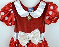 Minnie Mouse Red White Polka Dot Dress Girls Small 5/6 Halloween Costume Disney #Disney