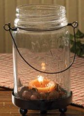 Small Mason Jar Tea Light Holder [PKD-21-132] - Primitive Home Decor - Primitive Curtains, Braided Rugs, Quilted Bedding and Country Kitchen Decor
