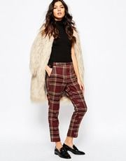 River Island Oxblood Check Tapered Pant