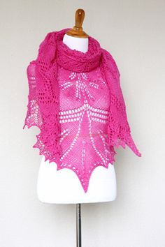 Knit shawl, lace shawl made of 100% wool yarn in lovely hot pink color. Perfect gift for her, gift for mom!  It's perfect with an elegant dress and also with jeans or shirt... #kgthreads