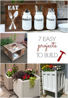 Love the mason jar silverware holder and the DIY planters. Great tutorials on how to make these easy projects.