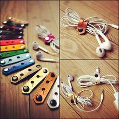 iPhone iPod Cord Organizer - Leather iPhone Earbud Lightning Charger Cord Keeper Holder Organizer on Etsy, $8.75