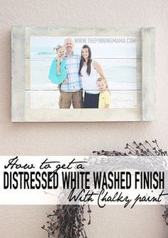 This is so EASY and I love how it looks with my home decor! How to get a distressed white washed finish on any wooden surface with this chalky paint technique!