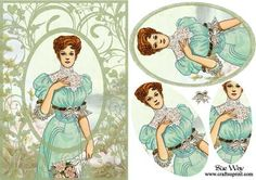 Vintage Lady Cameo in a Flower Frame Card Front