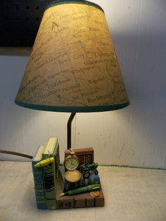 Vintage john deere table lamp table lamps pinterest lamp table john deere tractor vintaged look electric lamp with us map shade aloadofball