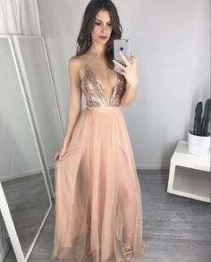 Unique V Neck Sequin Long Prom Dress, Evening Dress