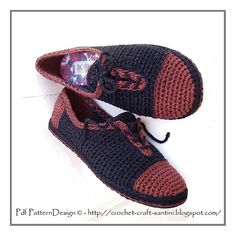 Ravelry: Leather-Look Lace-Up Slippers BASIC CROCHET PATTERN pattern by Ingunn Santini