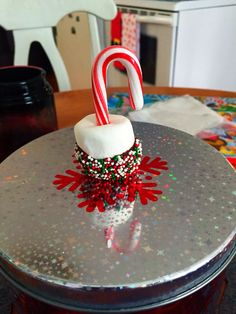 Christmas treats! Marshmallow dipped in chocolate with candy canes