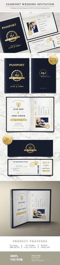 Passport Wedding Invitation by Vynetta02 SpesificationAdobe Photoshop & Adobe Illustration min. CS5 Ready to Use Template Hi-res 300 dpi, CMYK 4 PSD & 4 AI files Wedding I