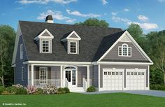 Eplans House Plan: Gable treatments along with stone and horizontal siding give a definite country flavor to this two-story home. Inside, the foyer opens to a great room, which boasts a fireplace, built-ins, and a magnifi House Plans 2 Story, Cottage House Plans, Small House Plans, Cottage Homes, House Floor Plans, Simple Floor Plans, Style At Home, Country Style House Plans, Craftsman Style House Plans