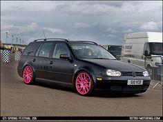 Black VW Golf Mk4 estate on pink wheels S10YCO by retromotoring, via Flickr