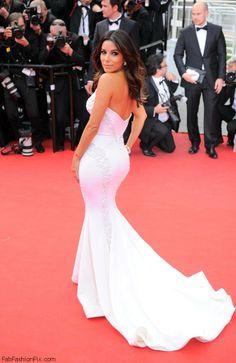 EVa Longoria in Gabriela Cadena gown at the 'Saint Laurent' premiere during the 67th Annual Cannes Film Festival.