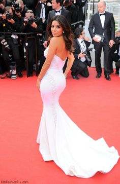 EVa Longoria in Gabriela Cadena gown at the 'Saint Laurent' premiere during the 67th Annual Cannes Film Festival.