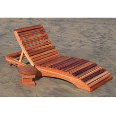 Redwood Outdoor Penny's Single Chaise Lounge Chair | Wooden Lounger