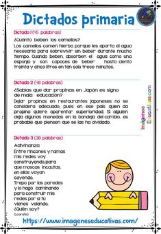 30 DICTADOS PARA PRIMARIA 1º 2º Y 3º CICLO - Imagenes Educativas Spanish Classroom Activities, Spanish Teaching Resources, Kids Math Worksheets, Preschool Learning Activities, Language Activities, Learning Spanish, Teaching Kids, School Items, I School