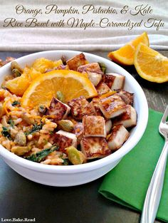 Orange, Pumpkin, Pistachio, & Kale Rice Bowl with Maple-Caramelized Tofu   Love.Bake.Read