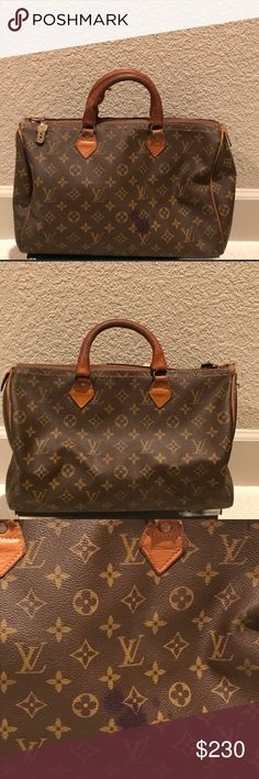 """Authentic Louis Vuitton Speedy Bag With Dust Bag Authentic Vintage Louis Vuitton Speedy Bag -  French Co. Speedy Bag so there is no date code. From the late 70's to early 90's, Louis Vuitton manufactured bags in partnership with the French Luggage Company in the US under special license (See the Yellow Tag in Picture 7). They don't abide by same """"rules """" as the internationally made Speedy Bags.  *Comes with Dust Bag* Louis Vuitton Bags Totes"""
