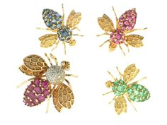 Ruby, Sapphire and Emerald Bee Brooches in 14K -Beladora Antique and Estate Jewelry