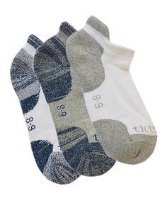 White & Navy No-Show Socks Set #zulily #zulilyfinds