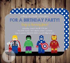AVENGERS Birthday Invitation,  thor, captain america, hulk, super hero birthday invitation, marvel avengers, lego man birthday,