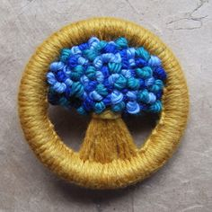 Handmade Vintage - look Flower Brooch, Made in a 1940s, 'Make Do and Mend' Style // Golden Yellow with Blues & Green