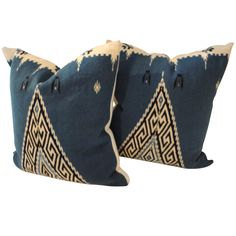 Texcoco Indian Weaving Pillows With Blanket Backing c 1940s