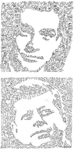 One Line Drawings by Pierre Emmanuel Godet  French artist Pierre Emmanuel Godet creates awesome portraits using single continuous lines to trace the facial features of famous characters while telling their stories at the same time.