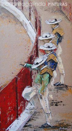 Andrea Galindo. Pintura: PICADORES Bull Painting, Figure Painting, Jesus Helguera, Art Deco Paintings, British Wildlife, Sketch A Day, Surreal Art, Comic Books Art, Love Art