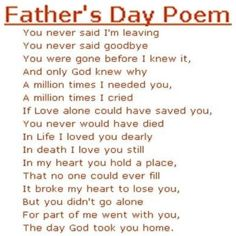 Fathers day poem for kids who have lost their father
